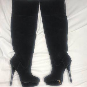 Steve Madden Black Suede Calgarry Knee High Boots